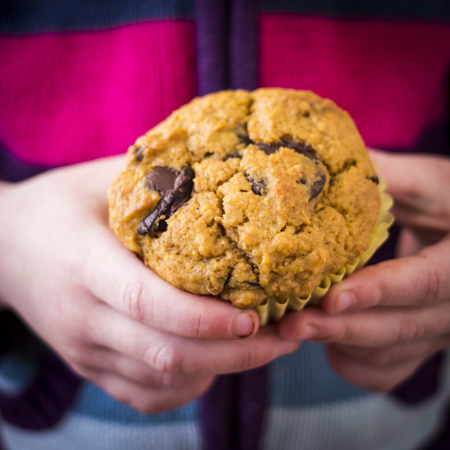 Kartoffel- og chokolade-muffins